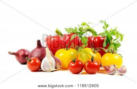 Vegetables on white