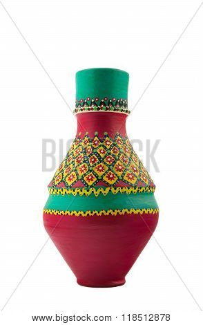 Egyptian Decorated Colorful Pottery Vessel
