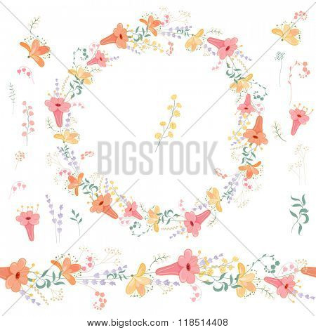 Floral spring elements with cute bunches of fancy flowers. Endless horizontal  pattern brushes. For romantic and easter design, announcements, greeting cards, posters, advertisement.