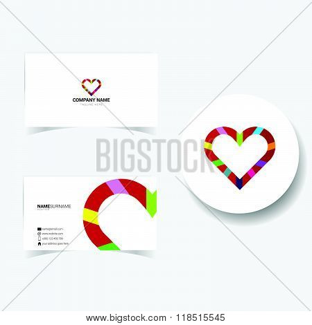 Business Card With Heart Illustration