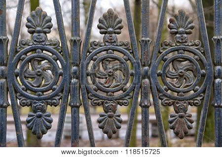 Wrought iron ornamental fence