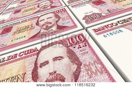 Cuban pesos bills stacks background. Computer generated 3D photo rendering.
