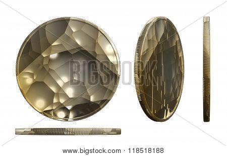 Raw Gold Coin Three Dimension