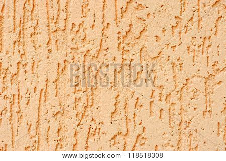 Plaster Dark Peach Colour Wall Background.. Decorative Render For Your Design