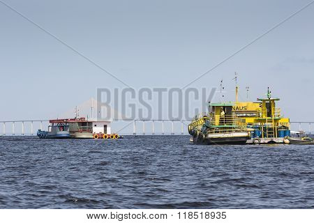 Manaus, Brazil, October 17: Typical Wooden White Amazon Boat Sailing On Rio Negro Near Manaus, Amazo