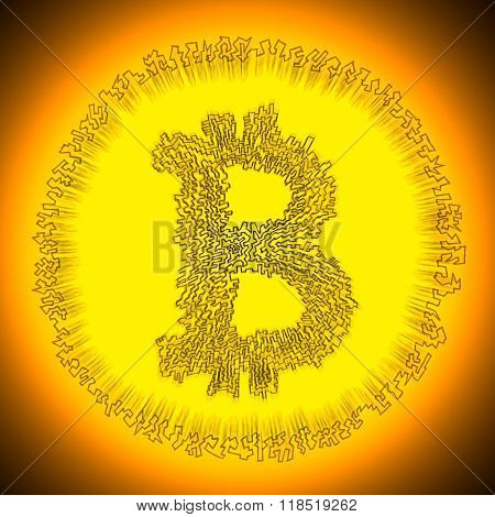 Golden Bitcoin Digital Cryptocurrency Coin Logo