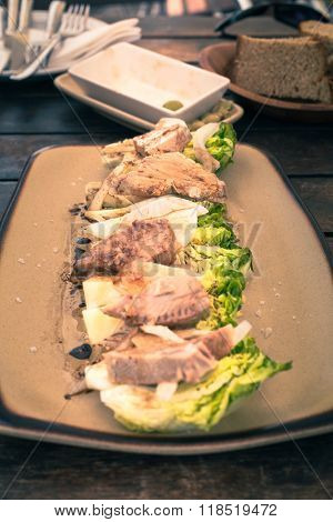 Fresh Tuna Steak With Vegetable In Spanish Restaurant