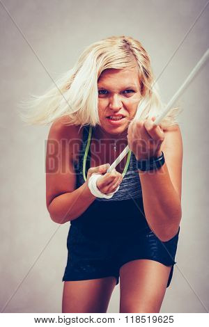 Strong Sporty Woman Pulling Rope