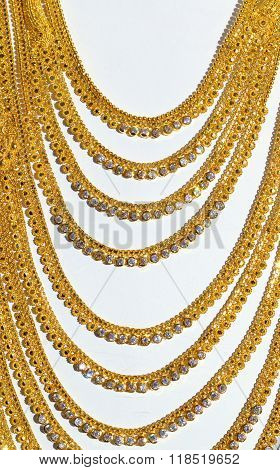 Golden necklace isolated