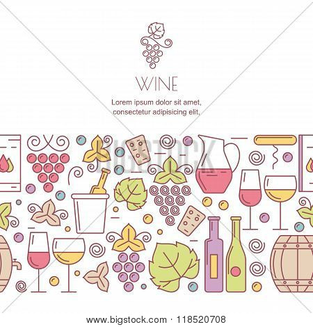 Vector Horizontal Seamless Background With Wine Bottles, Glass, Grapes Signs.