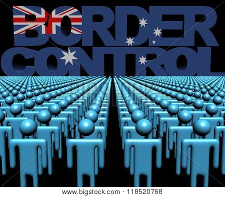 Border Control text with Australian flag and crowd of people illustration