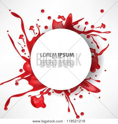 messy red ink splash on white isolated round frame