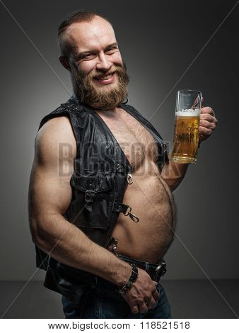 Smiling Biker With Beer Belly.