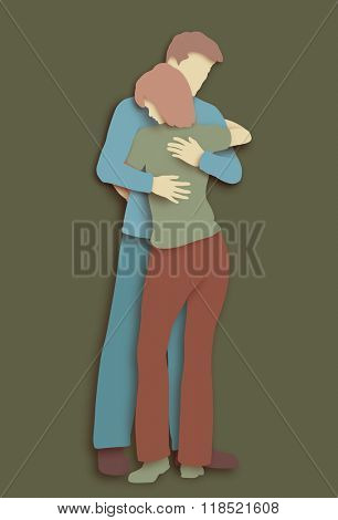 Cutout illustration of a man and woman hugging each other