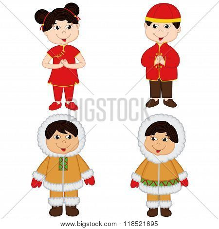set of isolated children of Chinese and Eskimo nationalities