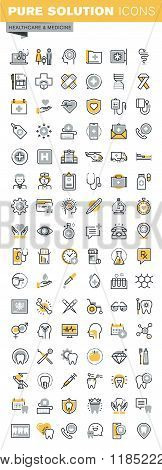 Set of modern vector thin line healthcare and medicine icons