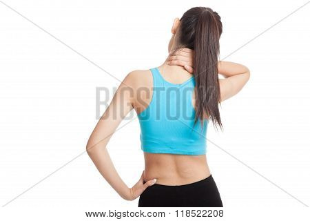 Asian Healthy Girl Got Neck Pain And Back Pain