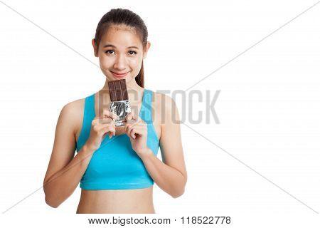 Beautiful Healthy Asian Girl Love Chocolate
