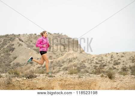 Young Sport Woman Running Off Road Trail Dirty Road With Dry Desert Landscape Background Training Ha
