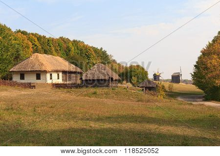 Old houses of the peasants and mill. Pirogovo, Ukraine