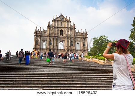 View Of The Ruins Of St Paul Cathedral In Macau