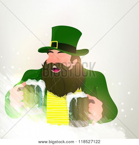 Happy Leprechaun holding beer in both hands and enjoying on occasion of St. Patrick's Day celebration.