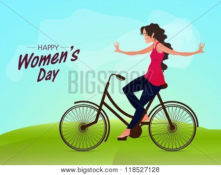 Beautiful young girl riding bicycle without using her hands on nature background for Happy Women's Day celebration.