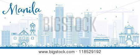 Outline Manila Skyline with Blue Buildings. Vector Illustration. Business Travel and Tourism Concept with Modern Buildings. Image for Presentation Banner Placard and Web Site.