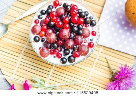 Breakfast Garden Fruits Currants Gooseberries Buttermilk