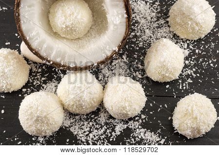 Fresh Coconut And Coconut Cookies On Dark Background