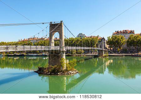 Old Passerelle Du College Bridge Over Rhone River In Lyon, France