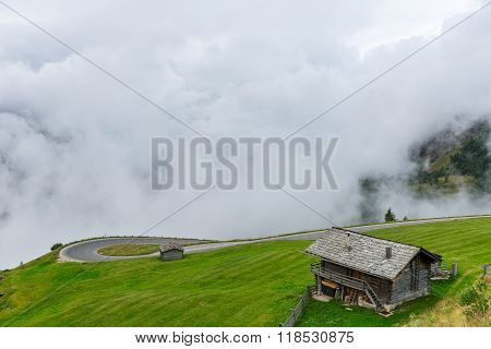 The Grossglockner Mountains In Foggy Weather