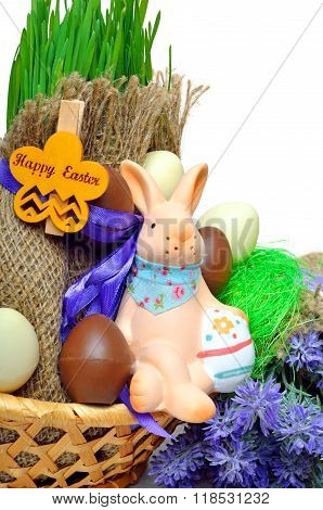 Easter Bunny, Easter Eggs Islated On White