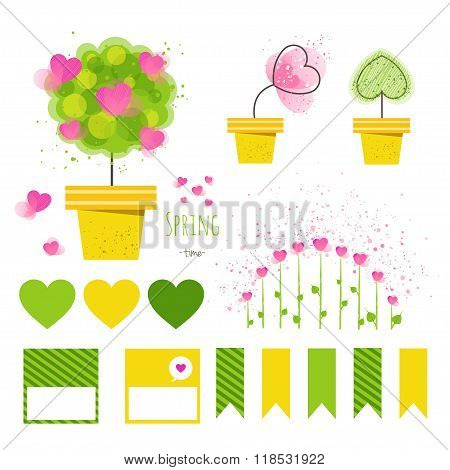 Set of vector spring decorative elements.Flowers in pots with stickers,printable files. Vector print