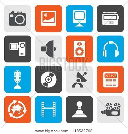 Flat Media and household  equipment icons