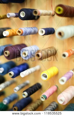 High Angle View Of Sewing Threads