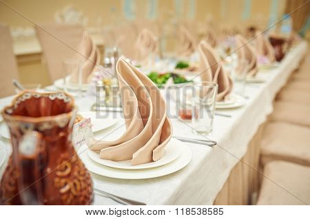 Decorated Wedding Table In A Restaurant
