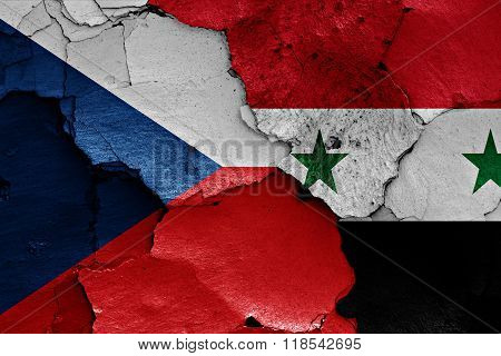 Flags Of Czech Republic And Syria Painted On Cracked Wall