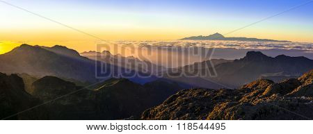 view from Tejeda for Teide. Canarian islands
