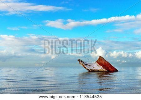 Ship wreck rusty landscape sinking into the sea Trinidad and Tobago