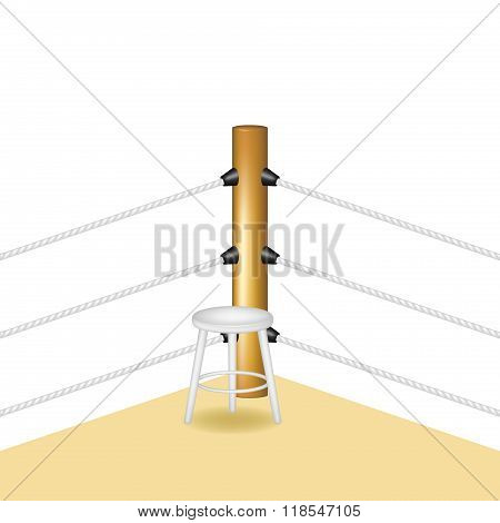 Boxing corner with white wooden stool and white ropes