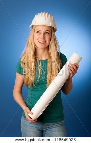 Woman With Constructor Helmet And Construction Plan  Happy To Do Tough Work.