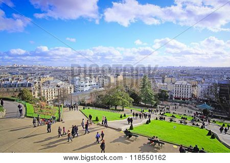 Paris, France, February 7, 2016: panorama of Paris from Montmartre - the well-known bohemian district in Paris, France