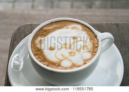 Coffee Latte Art As  Cute Bear For Valentine