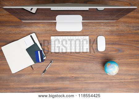 Workspace Of A Travel Agent