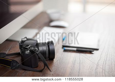 Closeup Of A Photographer's Desk