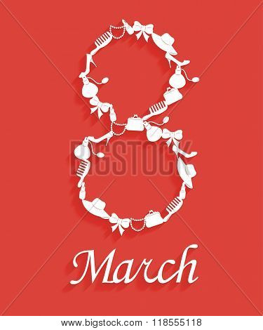 Abstract background for greeting card on March 8. Trendy design template womens day with long shadow