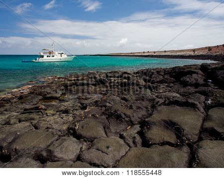 Tourist cruise boat in the Galapagos Islands