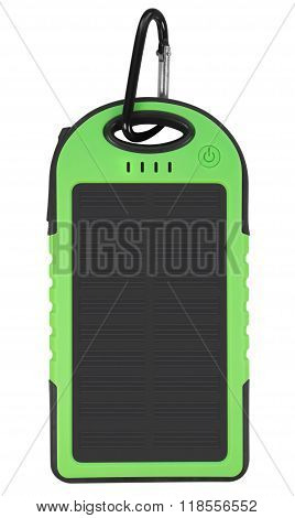 Power Bank With A Solar Panel - Green