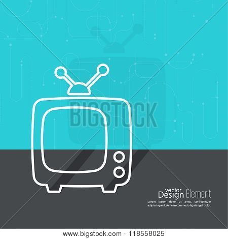 Abstract background with old TV and antenna.